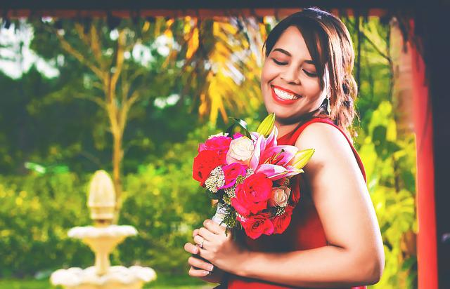 Woman, Bouquet Of Flowers, Flowers, Happy, Smiling