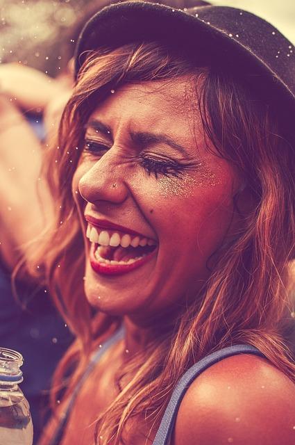 Woman, Smiling, Party, Enjoying, Fun, Cheerful