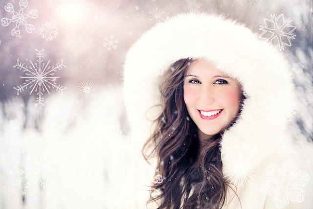 Woman, Snow, Winter, Portrait, Snowflakes, Smiling