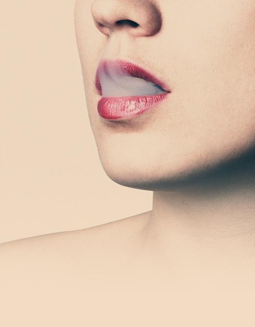 Lips, Smoke, Female, Woman, Face, Beautiful, Cigarette