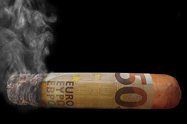 Money, Euro, Cigar, Smoke, Smoking, Money To Blow Over