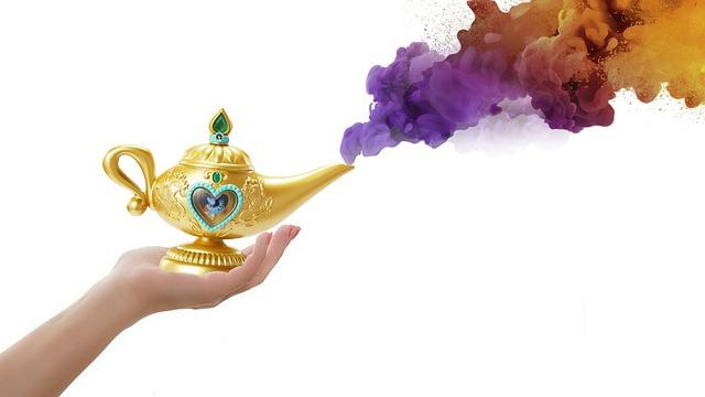 Smoke, Lamp, Magic, Hand, White Background
