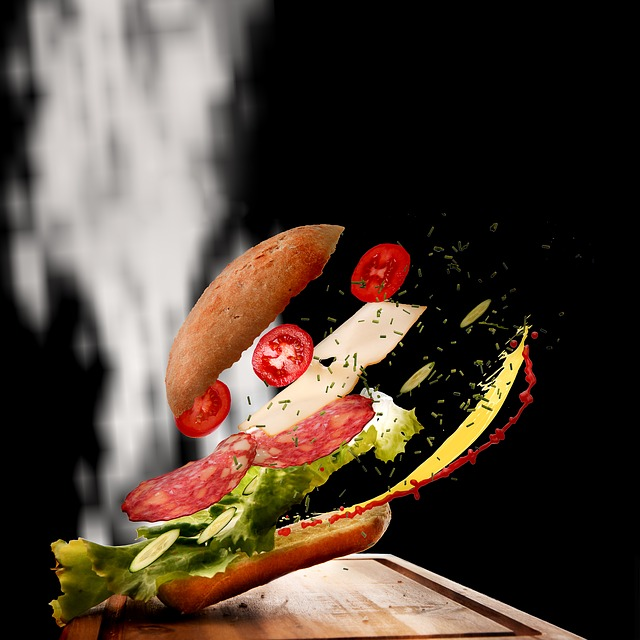 Sandwich, Food, Movement, Roll, Snack, Colorful