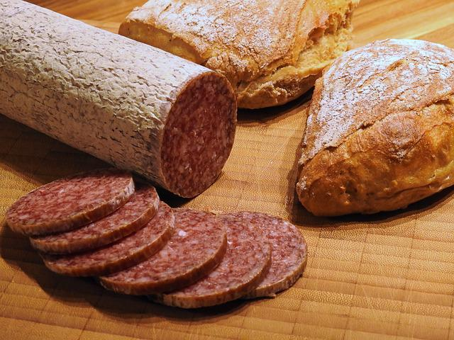 Eat, Food, Snack, Salami, Sausage, Meat, Fat, Delicious