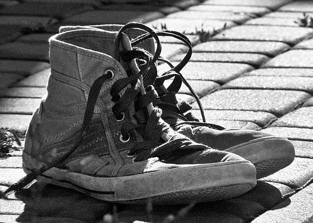 Shoes, Old, Worn Out, Sneakers, Footwear, Contrast