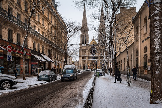 Street, City, Architecture, Paris, Snow