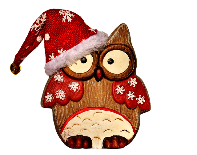 Owl, Figure, Wood, Christmas, Santa Hat, Cute, Snow
