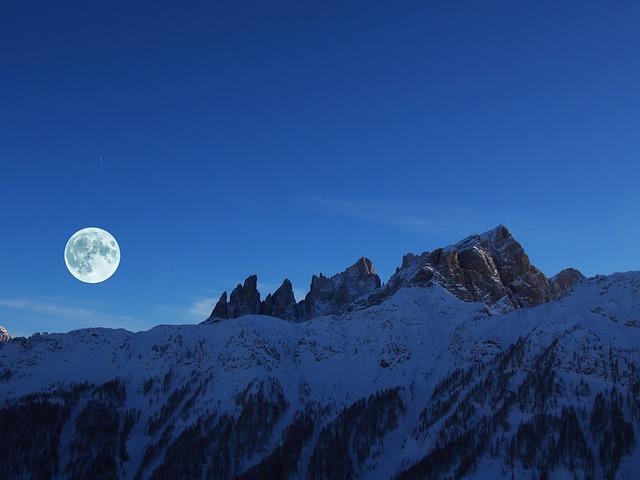 Dolomites, Month, Night, Alps, Italy, Full Moon, Snow