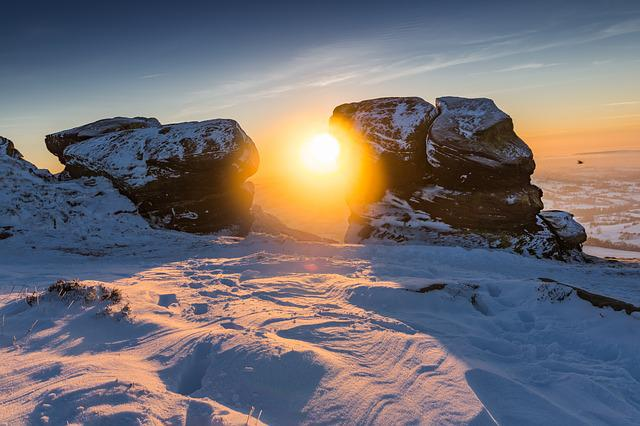 Sunset, Winter, Snow, Natural Rock, Landscape