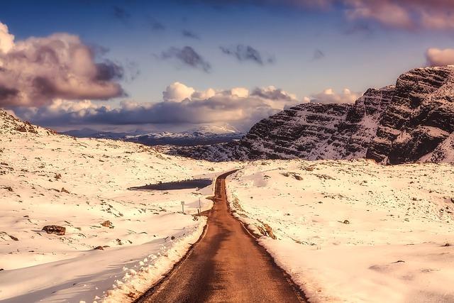 Scotland, Landscape, Snow, Winter, Road, Mountains, Sky