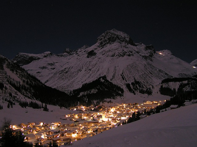 Night, Landscape, Full Moon, Snow, Lech Am Arlberg