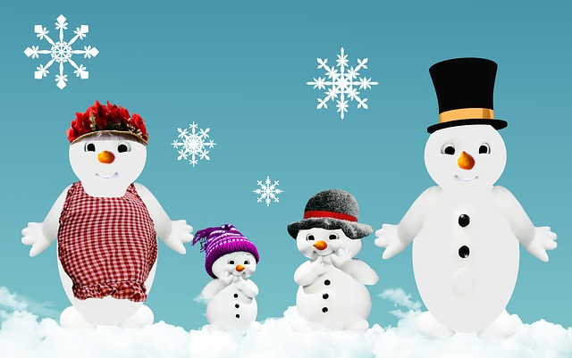 Winter, Snow Man, Family, Greeting Card, Wintry