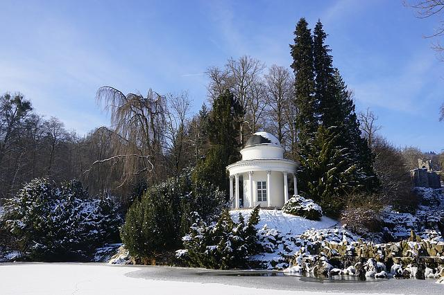 Winter, Mountain Park Kassel-wilhelmshoehe, Snow
