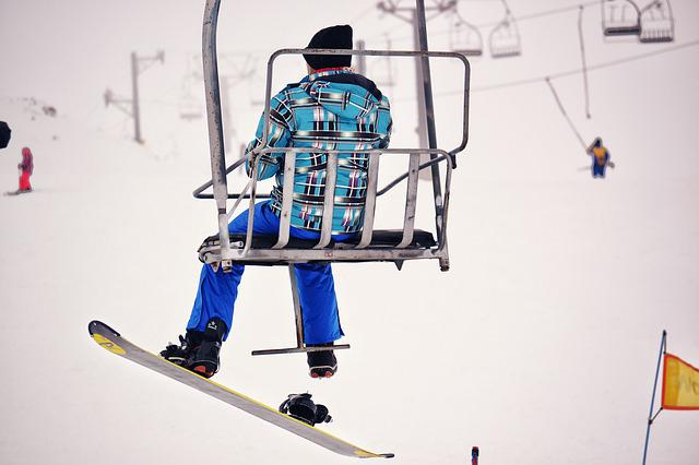 Snowboarder, Chairlift, Snow, Mountain, White