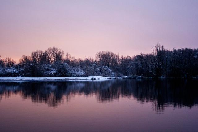 Dawn, No Person, Body Of Water, Landscape, Nature, Snow