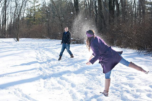 Snowball Fight, Snow, Winter, Young, Playing, Outdoors