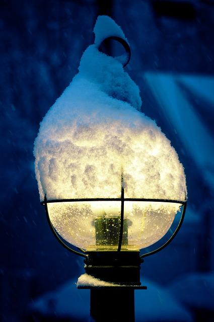 Snow, Lamppost, Winter, Lamp, Lantern, Snowfall