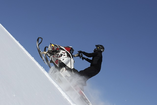 Scooter, Snowmobile, Blue, Himmel, L Hill, Up, Snow