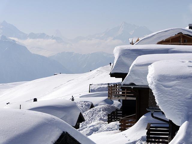 Fiescheralp, Chalet, Mountain, Snow, Roofs, Sun