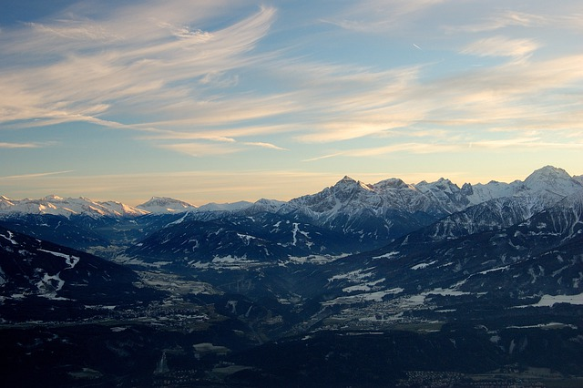Innsbruck, Mountains, Snow, Distant View, Sunset