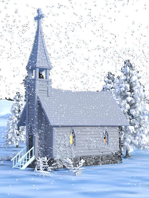 Christmas, Advent, Church, Snow, Transparent
