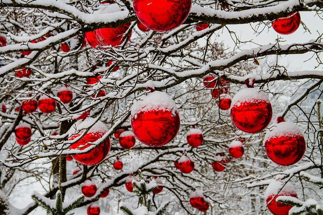 Christmas, Winter, Tree, Snow, Balls, Red