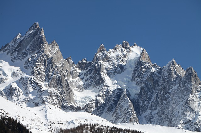 Snow, Mountain, The Aiguilles Of Chamonix, View