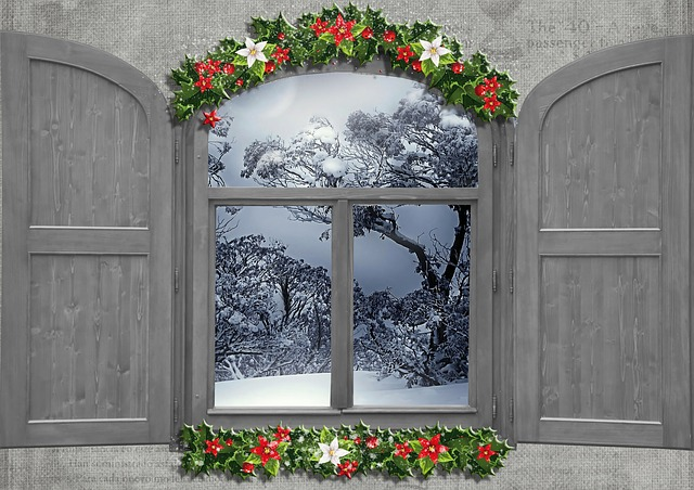 Winter, Collage, Composition, Window, Snow, Nature