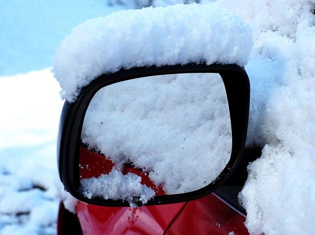 Car Mirror, Rear Mirror, Winter, Snow