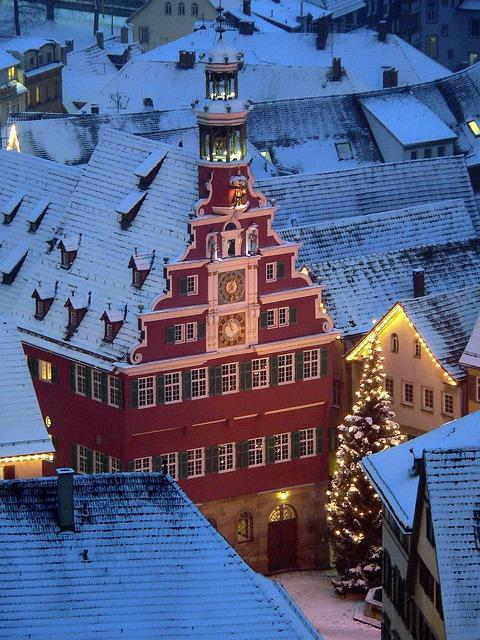 Christmas, Esslingen, Christmas Tree, Winter, Snow