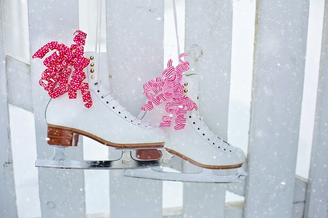 Ice Skates, Hanging, Fence, Red, Pink, Winter, Snow