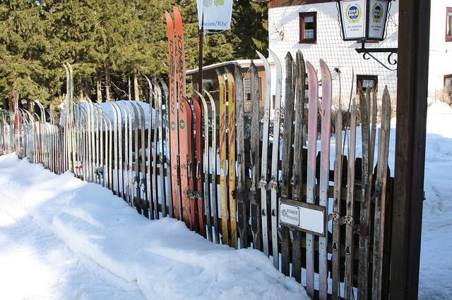 Snow, Ski, Fence, Winter, Cold, Frost, Wood