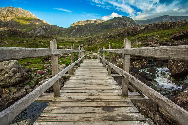 Mountains, Bridge, River, Snowdonia