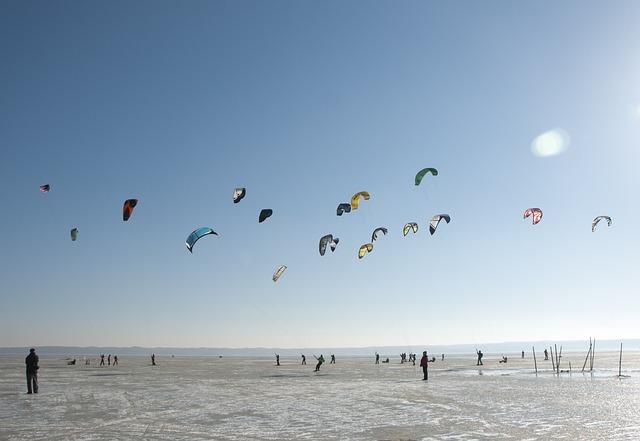 Sport, Winter, Ice, Skis, Kite, Kitesurfing, Snowkiting