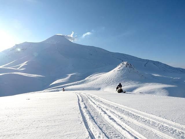Volcanoes, Mountains, Winter, Snow, Snowmobile