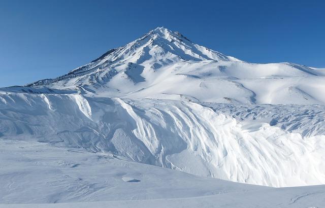 Koryaksky Volcano, Kamchatka, Winter, Snowy Mountains