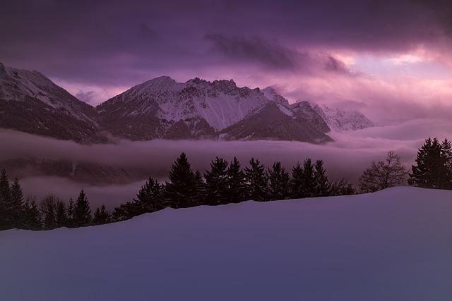 Winter, Wintry, Snowy, Mountains, Mountain Peaks, Fog
