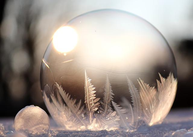 Soap Bubble, Frost Blister, Eiskristalle, Frozen