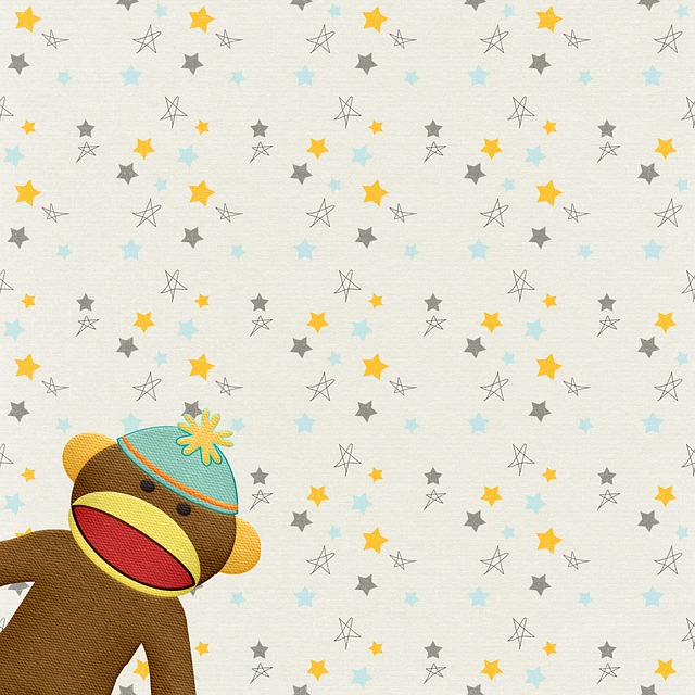 Digital Paper, Children's Paper, Sock Monkey
