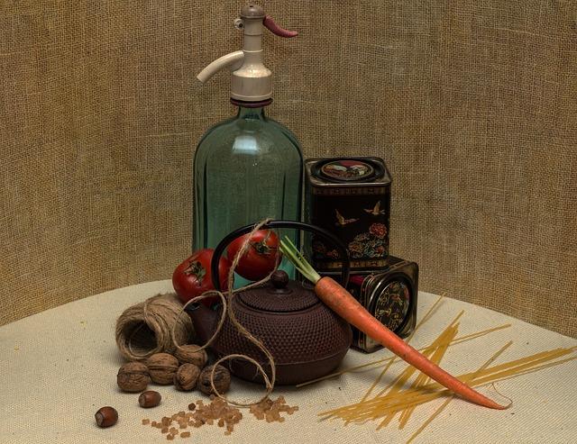 Still Life, Teapot, Vegetables, Soda Bottle