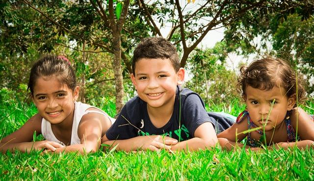 Sodding, Park, Children, Lying In The Grass