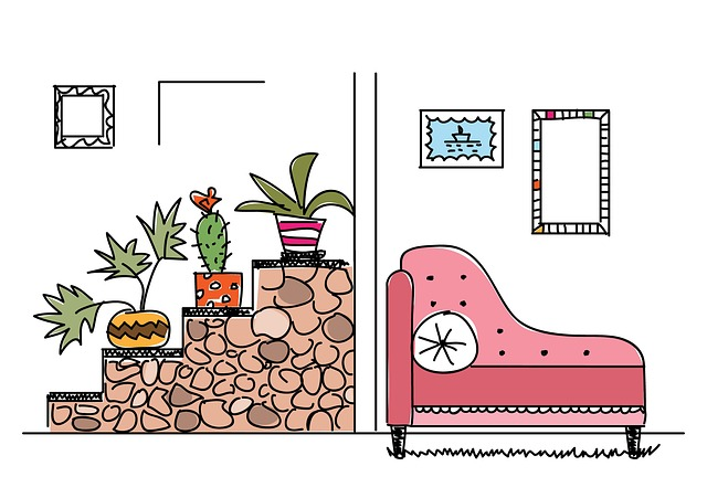 Interior, Room, Plants, Ladder, Sofa, Sketch, Home