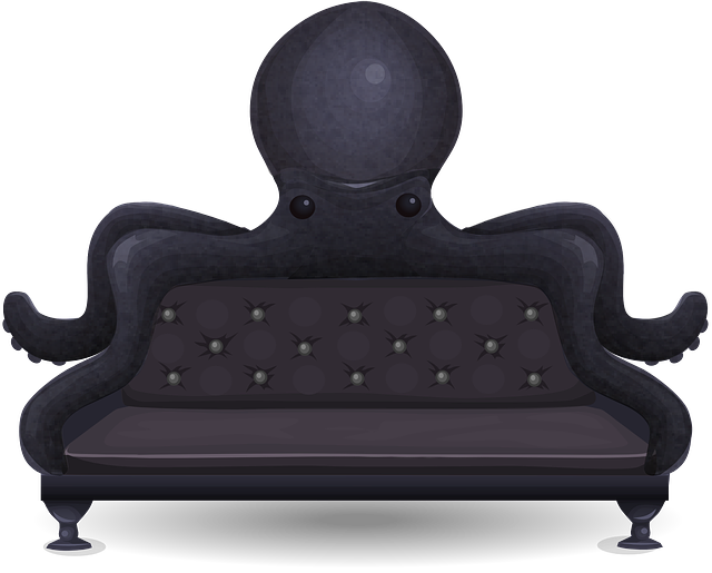 Couch, Sofa, Loveseat, Octopus, Black, Seat, Seating