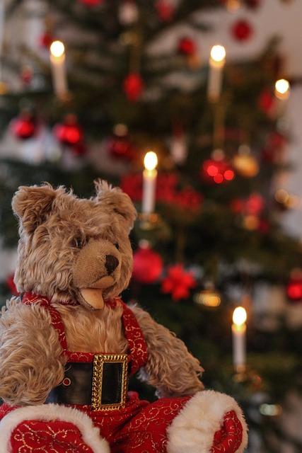 Teddy, Christmas, Candles, Soft Toy, Antique, Nostalgic
