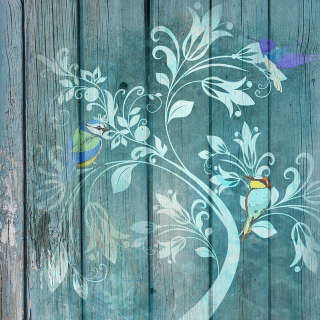 Green, Wooden, Slats, Tree, Birds, Page, Soft, Romantic