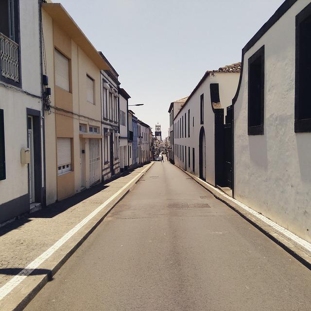 Street, Ponta Delgada, Azores, Sol, Sky, Blue