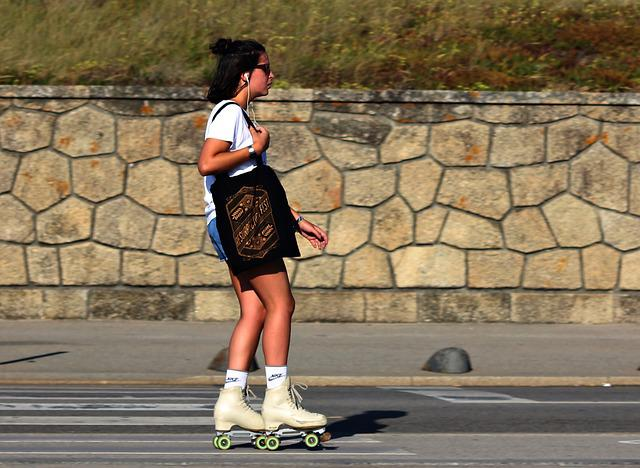 Woman, Rollerblades, Ride, Sol