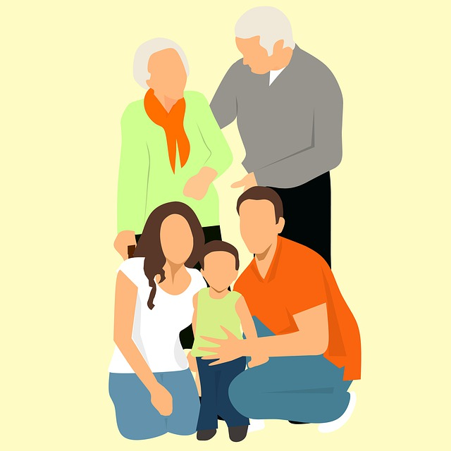 Family Gathering, Grandparents, Father, Mother, Son