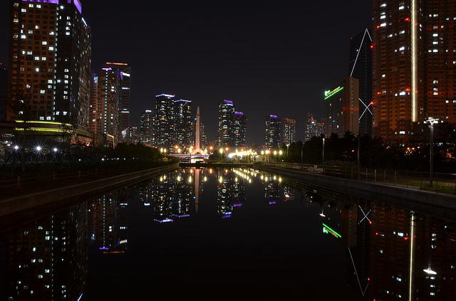Songdo, Night View, Incheon, City, Night, In The Dark