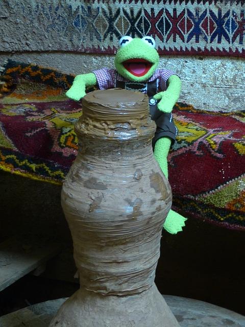 Kermit, Frog, Green, Potters, Sound, Potter's Wheel